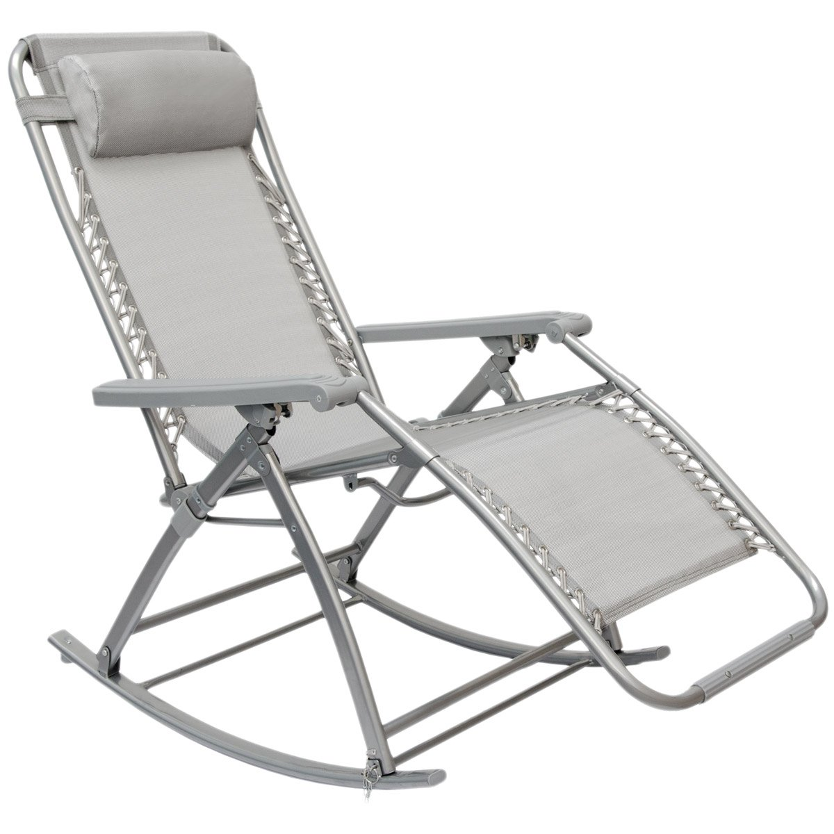 AMANKA Rocking garden lounger Rocking Chair with adjustable footrest and reclining back folding recliner for patio 178x70cm steel frame gray color supported weight max 120kg Omnideal