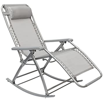 AMANKA Chaise Longue berçante de Transat à Bascule de Jardin Rocking ...