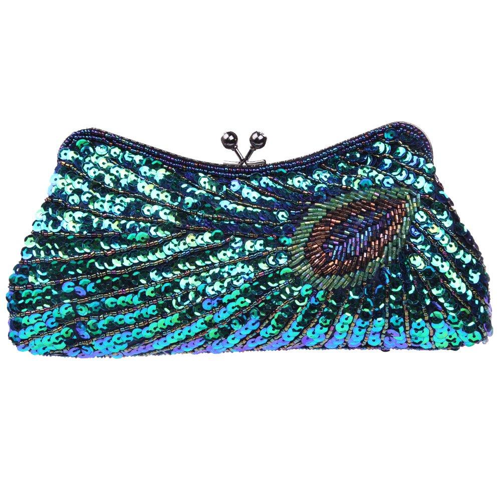 Fawziya Kiss Lock Sequin Clutch Purse Peacock Clutch Bag - Blue