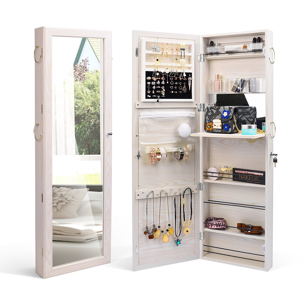TWING Jewelry Cabinet Wall Door Mounted Lockable Jewelry Armoire Organizer Full-Length Mirror White
