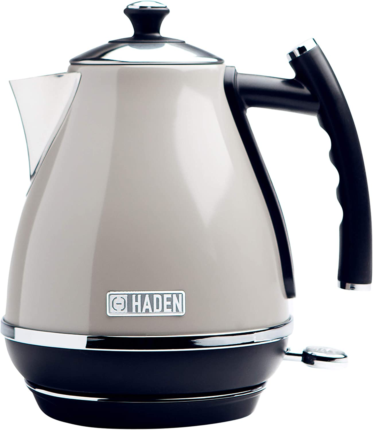 Haden COTSWOLD 1.7 Liter Stainless Steel Retro Electric Kettle with Auto Shut-Off and Boil-Dry Protection in Putty Beige