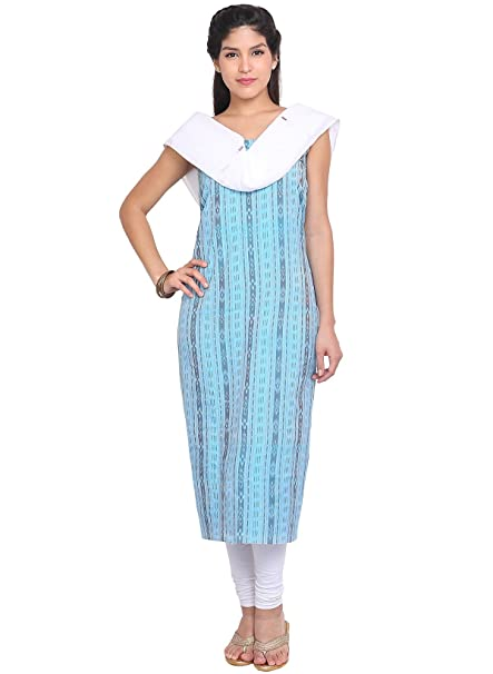 Amazon Com Indusdiva Women S Light Blue Cotton Nayagarh Bandho