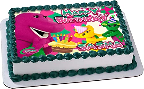 Super Amazon Com Barney Friends Edible Cake Image Personalized Personalised Birthday Cards Cominlily Jamesorg