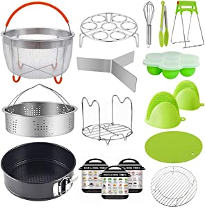 WEZVIX 18 PCS Instant Pot Accessories Set, Accessories for 5/6/8 QT Pressure Cooker, Non-stick Cake Pan, Egg Rack, Egg Bites Mold, 2 Steamer Baskets, Easy to Clean & Dishwasher Safe