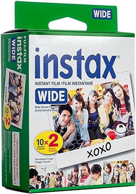 Papel fotográfico película – Lote de 20 Fujifilm Instax Polaroid Compatible con cámara Fujifilm Instax Wide 300, 200 y 210: Amazon.es: Electrónica