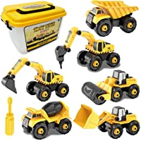 Sanlebi Take Apart Toys for Boys, Construction Vehicles Crane Toys with Storage Box, 6 in 1 DIY Building Toys…