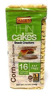 Suzie's, Thin Puffed Cakes, Corn Quinoa and Sesame, Gluten Free, 4.6 OZ - Pack of 6