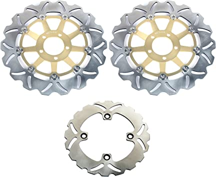 Gold Front Rear Brake Discs Disks Pads For Kawasaki ZX9R Ninja E1 E2 2000 2001