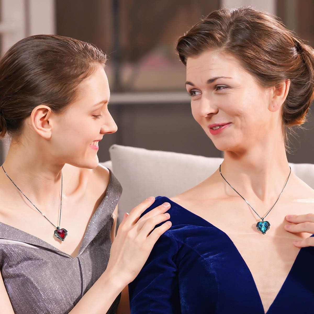 CDE Colliers pour femme Cadeau de f/ête des m/ères Bijoux pour Femme collier de cristaux Swarovski Bijoux coeur pendentif danniversaire cadeau pour petite amie /épouse avec Paquet exquis