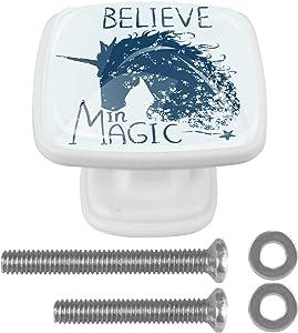 Square Drawer Knobs Dresser Pulls Magic Unicorn Horse Furniture Handles Drawer Handles Hardware Gift for Girls,Boy(2 Different Size Screws)4 PCS 30mm