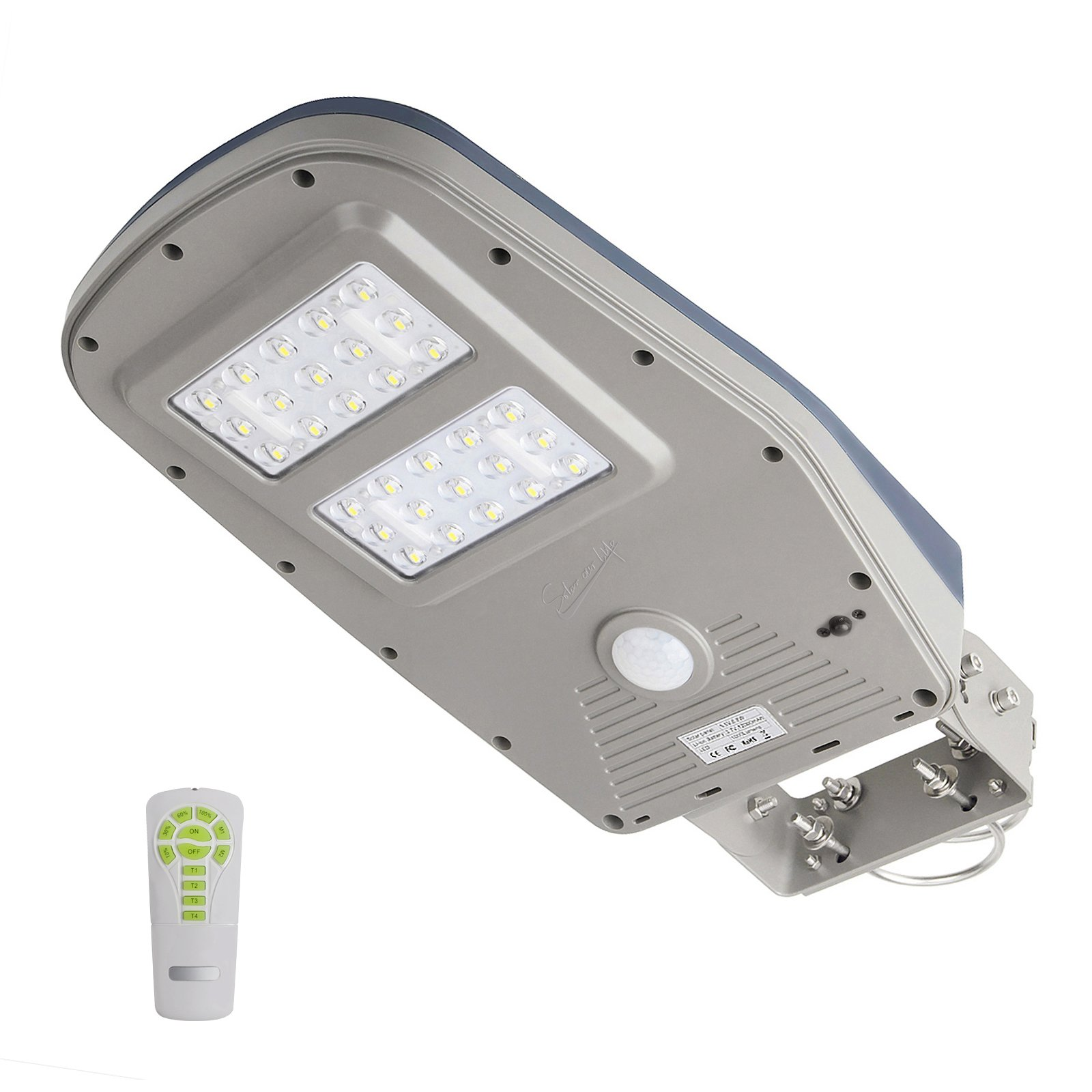 GBGS Solar Street Light Outdoor 1,000 Lumens IP65 with Remote Wall Mount Area Lighting Dusk to Dawn PIR Motion Sensor Courtyard Deck Night Lights, 30 LEDs