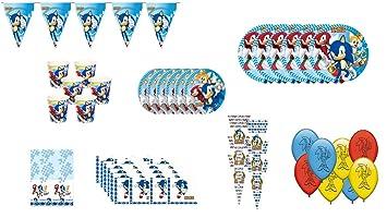 ALMACENESADAN 1045, Pack complemento Fiesta y cumpleaños Sonic, 6 Invitados (54 Piezas)