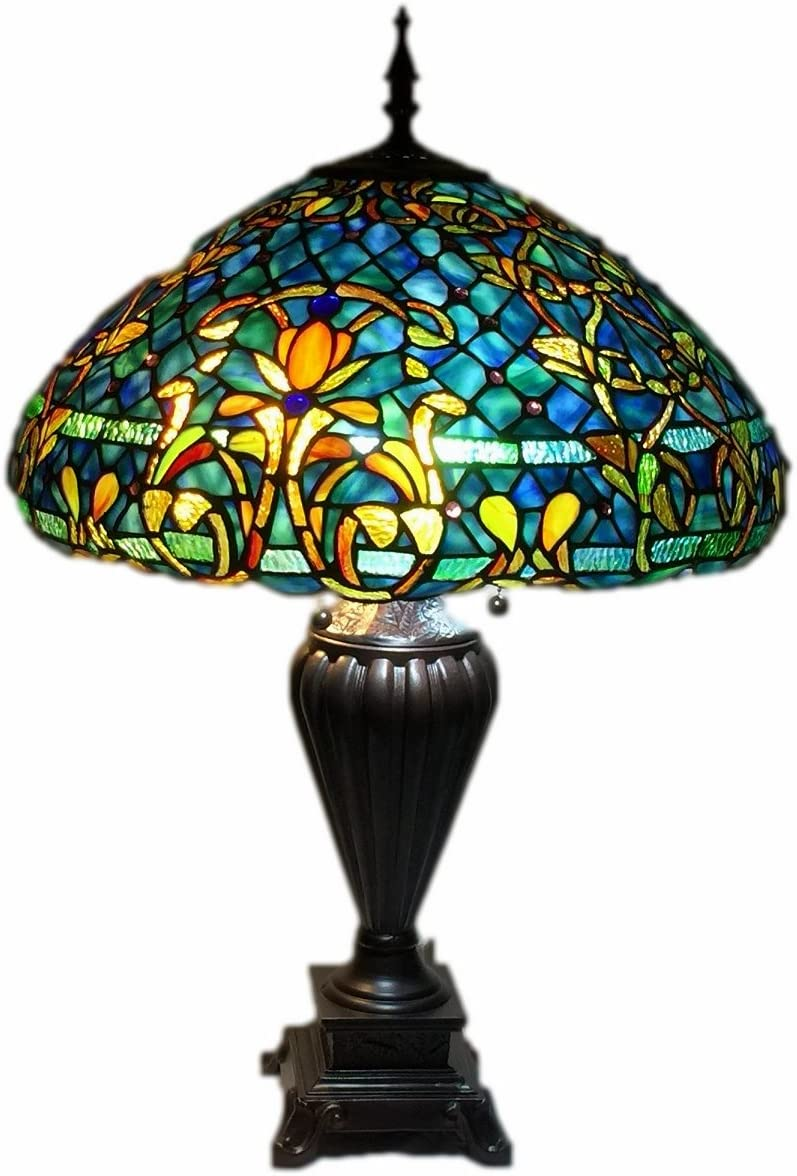 Gweat Tiffany 16-Inch Romantic Pastoral Style Warm Stained Glass Butterflies over Flowers Series Floor Lamp