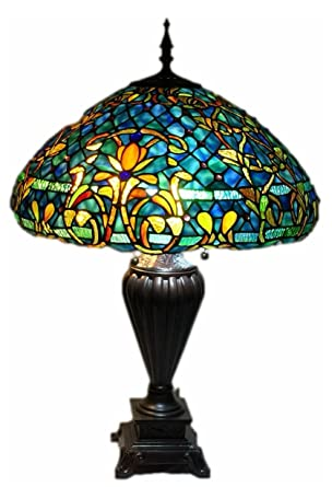 Tiffany style stained glass table lamp azure sea w 20 shade tiffany style stained glass table lamp quotazure seaquot aloadofball Gallery