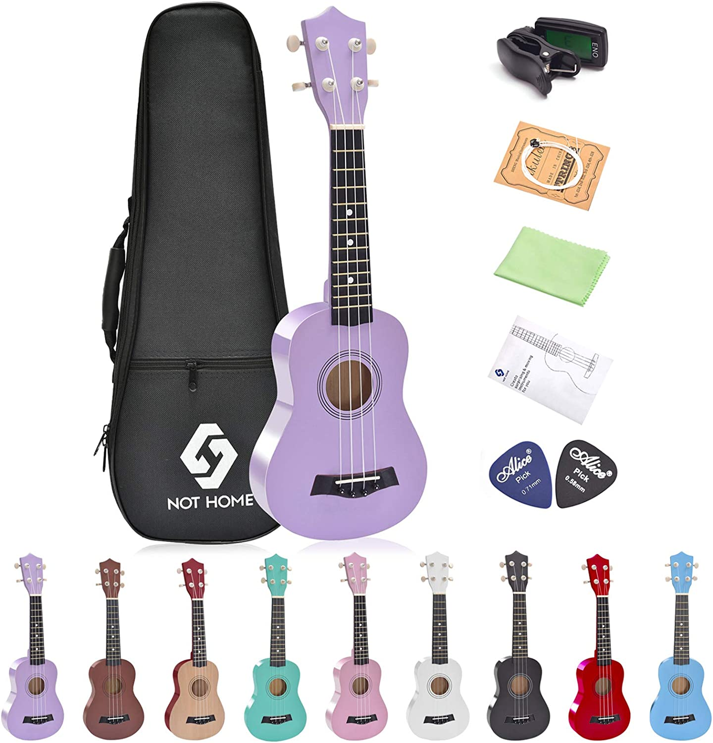 Chords Card Clip-On Tuner Strap Extra Strings 21 Soprano, Purple Polishing Cloth Fret Stickers Plectrum Winzz Soprano Ukulele Starter Kit For Beginners with Bag