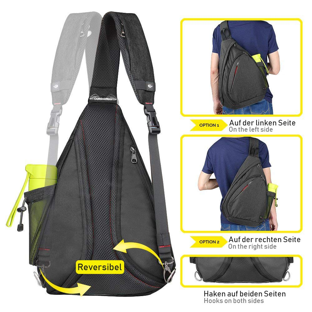 OutdoorMaster Sling Bag - Crossbody Mochila para Mujeres y Hombres(Negro): Amazon.es: Equipaje