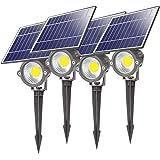 Lightdot 4 Pack Led Solar Landscape Spotlights, Outdoor IP67 Waterproof Solar Powered Wall Spot Lights, Dark Sensing Auto On/