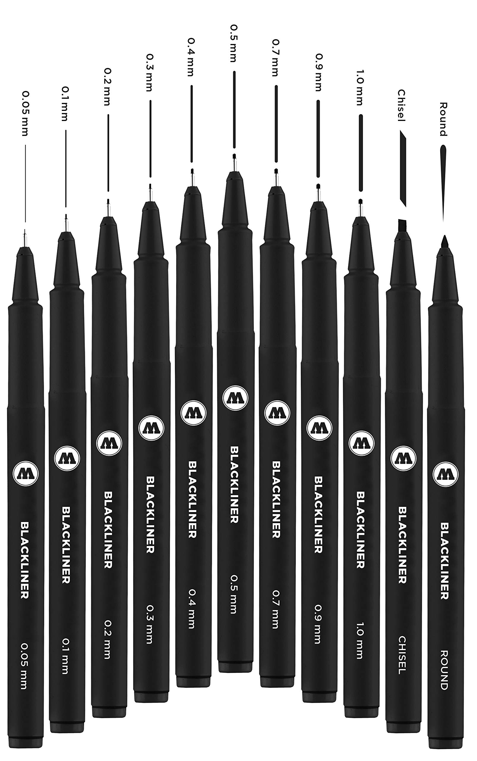 Molotow Blackliner Pen Complete Set, 11 Pens, 1 Set Each (200.485) by Molotow (Image #2)