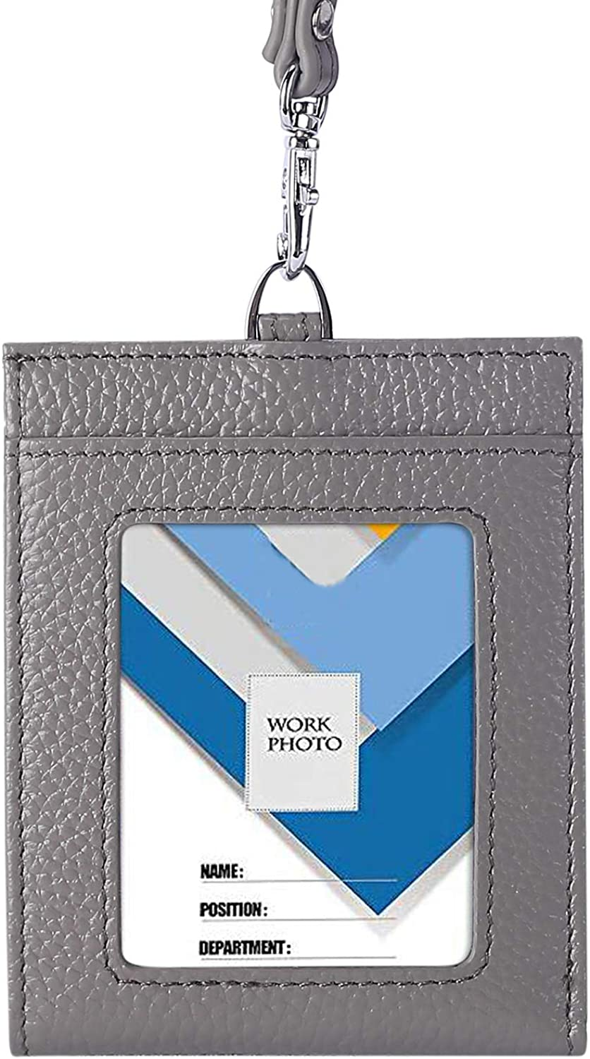 Yafeige Leather RFID Wallet, ID Badge Card Holder Wallet with 6 Cards Slot, 1 Cash Pocket and Neck Lanyard/Strap