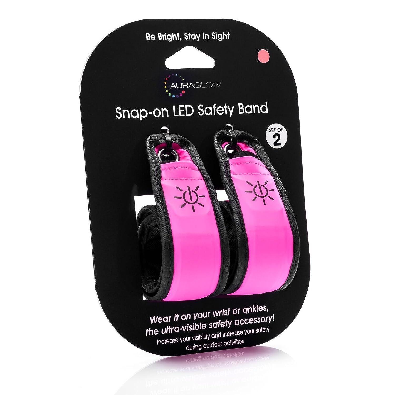 Auraglow Super Lumineux Haute Visibilité Lumineux LED Bande de Bras  Réfléchissant Courir Bracelet Bande de Sécurité - Paquet de 2 - Rose   Amazon.fr  ... c58510c449b