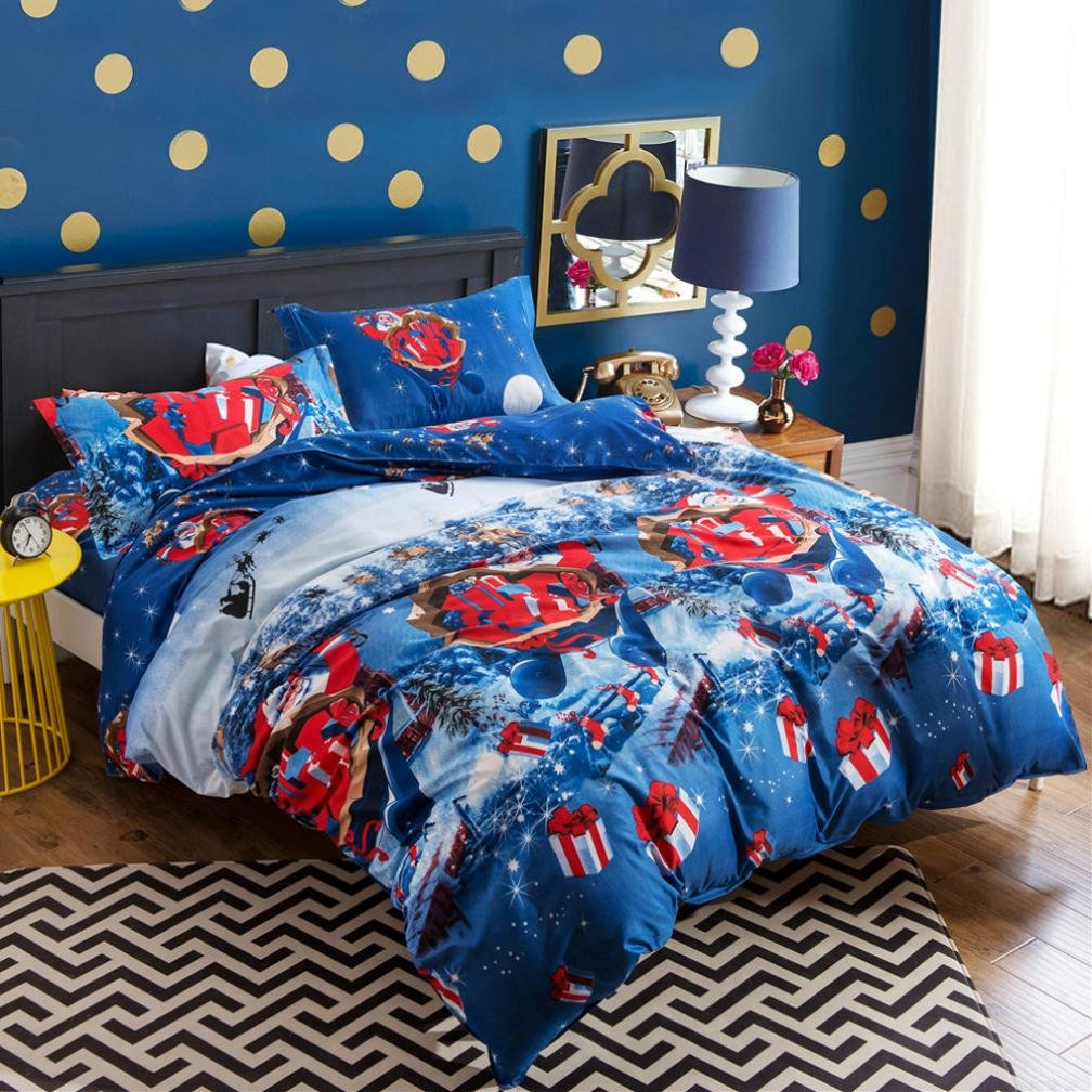 GBSELL 4 Pcs Bed Linen Home Textile Christmas Bedding Set