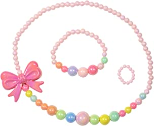 SMITCO Toddler Play Jewelry - Stretch Bow Necklace, Ring and Bracelet Set for Little Girls