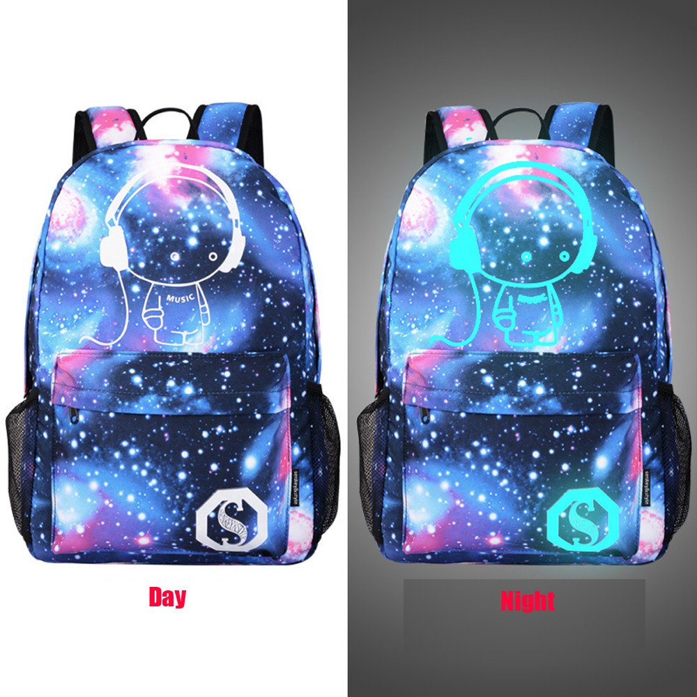 b46cf831a3 Amazon.com  Unisex Teen Boys Girls Fashion Luminous Galaxy Personalized  Backpack Teenagers School Bags Canvas Bookbags (A)  Toys   Games