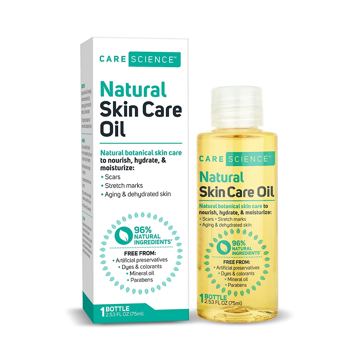 Care Science Multiuse Natural Skincare Oil, 75 ml | For Scars, Stretch Marks, Aging | Vitamin E Oil, Avocado Oil, Olive Oil, Soybean Oil, Coconut Oil, Marigold Flowers, Sunflower Seed Oil, More