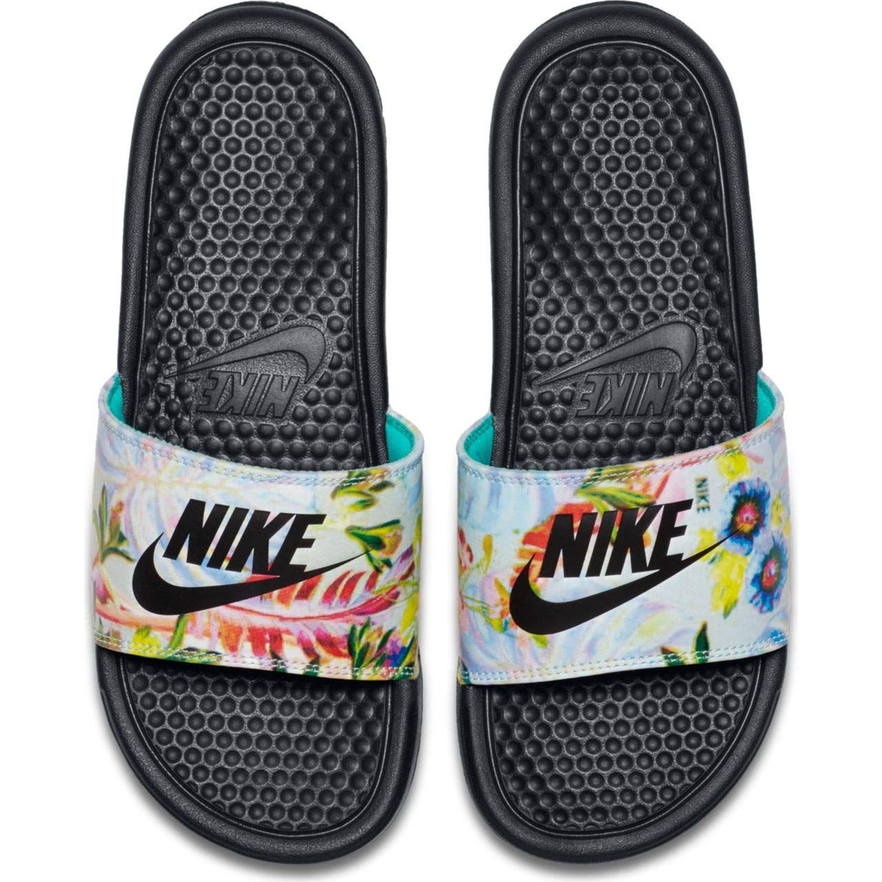 Nike Women's Benassi JDI Print Sandals, Pure Platinum/Black (US 7)