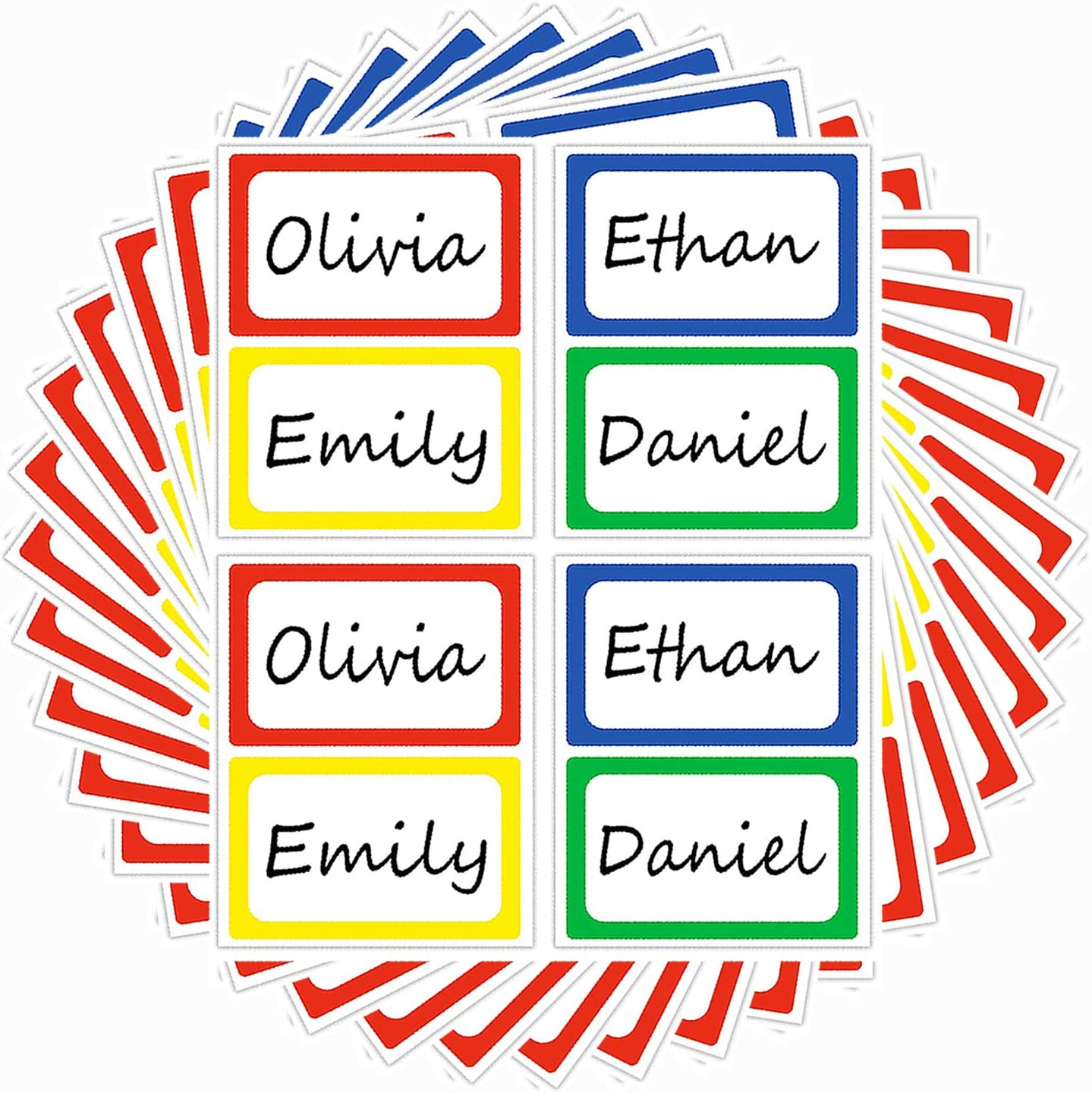Colored Hello My Name is Stickers - Stick on Name Labels - Self-Adhesive Identification Name Label for Kids, School, office, Parties, Events - 2 X 3 Inch 200Pcs