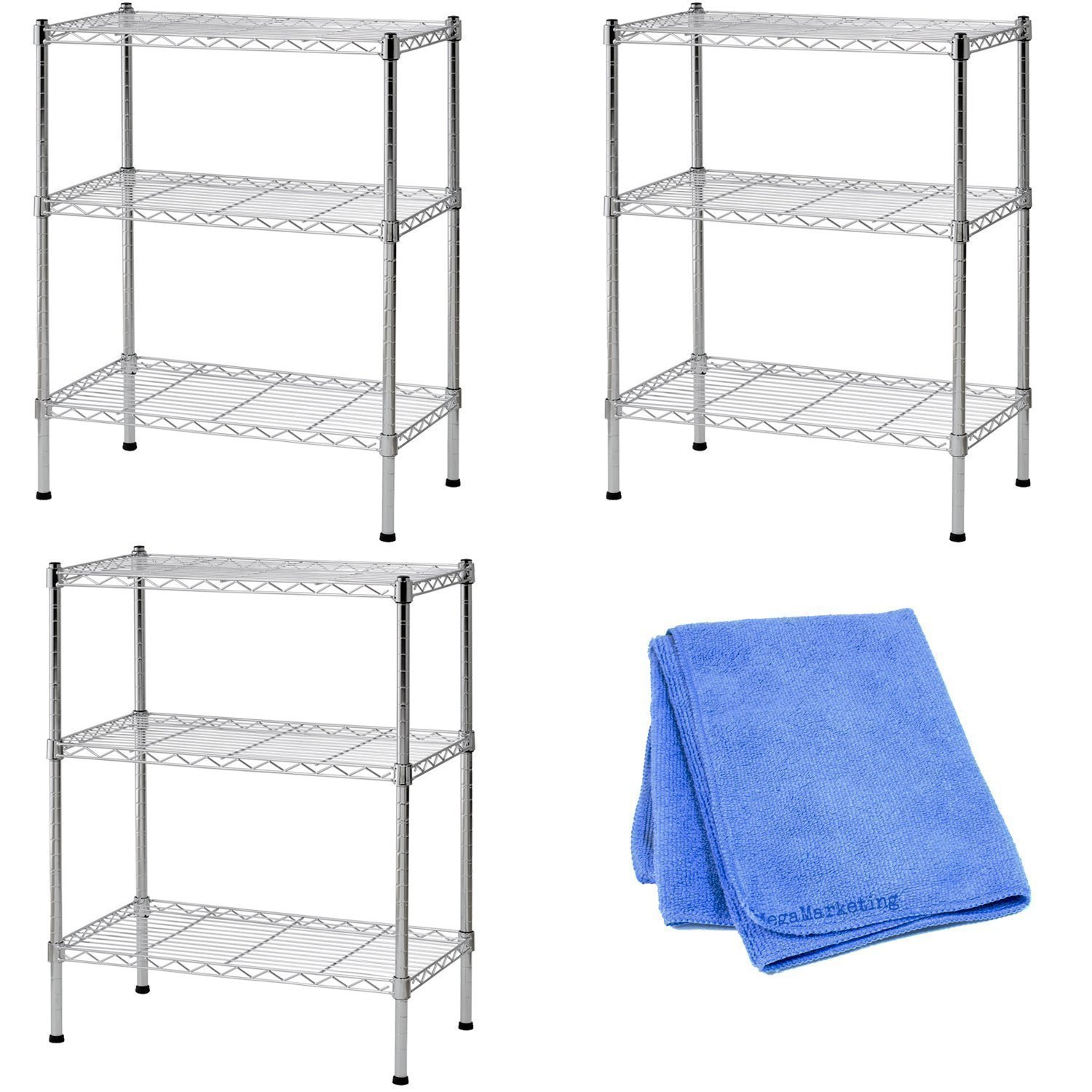 Sandusky WS241430 Wire Shelving, 24'' Width x 30'' Height x 14'' Depth, 3 Shelves, Chrome, 3-Pack with Dust Wipe Cloth