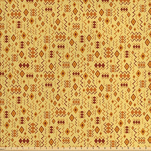 Ambesonne African Fabric by The Yard, Tribal Random Doodles Pattern Herringbone Indigenous Art Folk Features, Decorative Fabric for Upholstery and Home Accents, Brown Marigold Mustard from Ambesonne