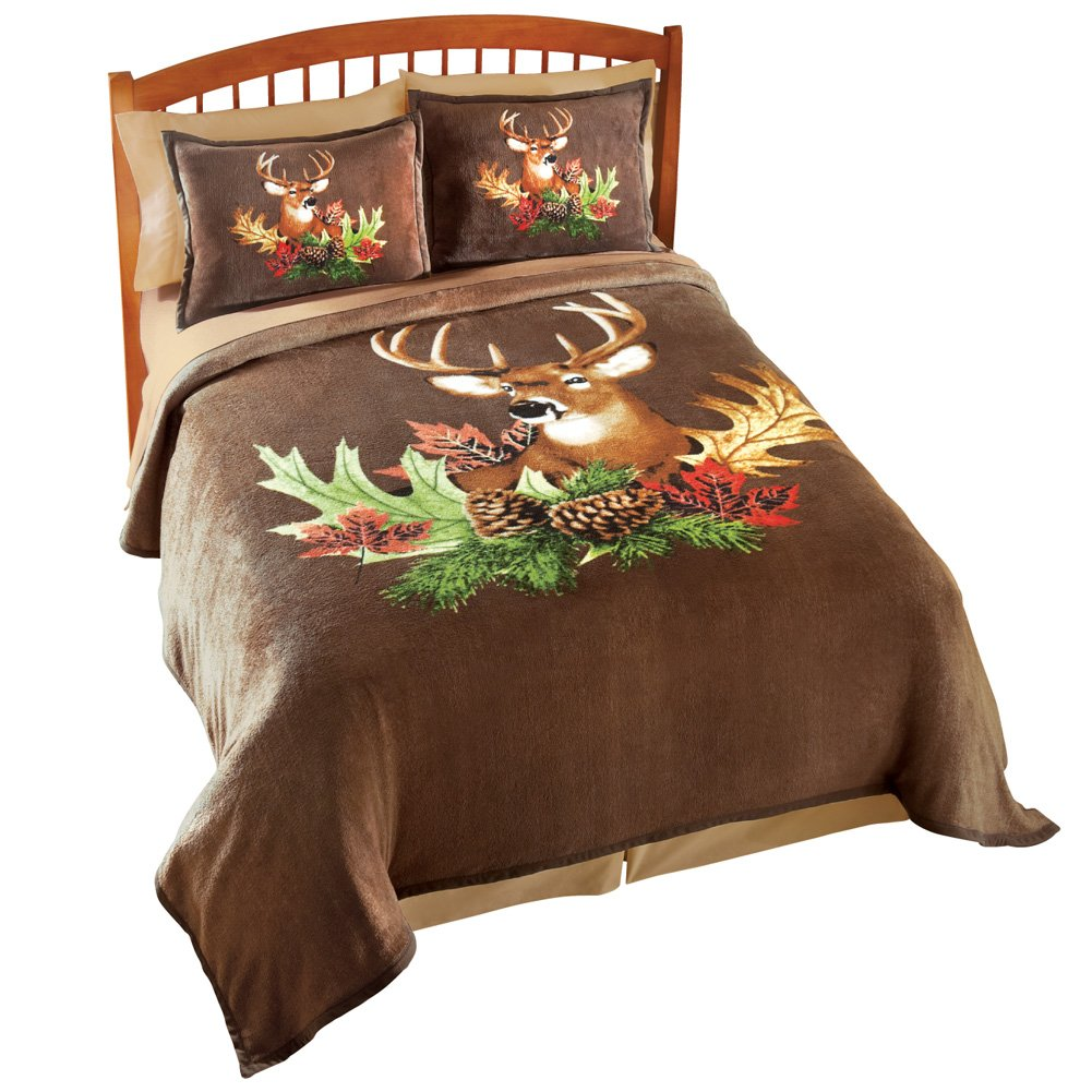 Collections Etc Northwoods Deer Fleece Bedroom Coverlet, Animal, Full/Queen by Collections Etc