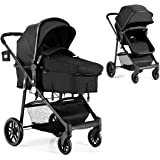 BABY JOY Baby Stroller, 2 in 1 Convertible Carriage Bassinet to Stroller, Pushchair with Foot Cover, Cup Holder, Large Storag