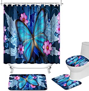 OuElegent 4 Pcs Teal Butterfly Shower Curtain Sets Blue Insect with Pink Flowers Bathroom Decor Vivid Curtain with Non-Slip Rug Toilet Lid Cover and Bath Mat