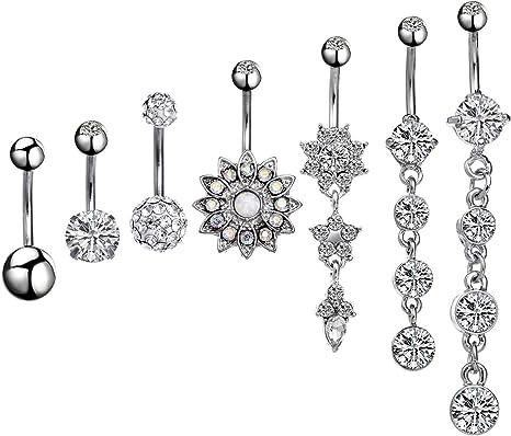 Damen Schmuck 10 Stück Bauchnabel Ring Kristall Edelstahl Bauchnabelpiercing