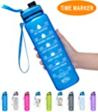 Fidus 1 Liter Large Water Bottle with Motivational Time Marker & Removable Strainer, Fast Flow BPA Free Non-Toxic, Ensure You Drink Enough Water Daily for Fitness, Gym and Outdoor Sports