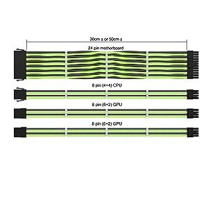LINKUP PSU Cable Extension Sleeved Custom Mod GPU PC Power Supply Braided w/Comb Kit |1x 24 P (20+4) | 1x 8 P (4+4) CPU | 2X 8 P (6+2) GPU Set | 50CM 500MM - GreenBlack (Color: GreenBlack, Tamaño: 50cm Pwr Cable Kit)