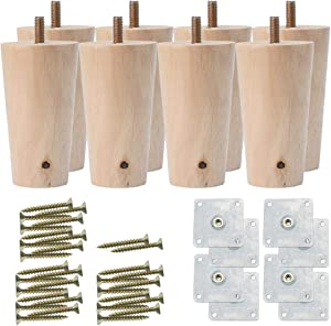 uxcell 3 Inch Round Solid Wood Furniture Legs Sofa Couch Chair Table Desk Closet Cabinet Feet Replacement Adjuster Set of 8