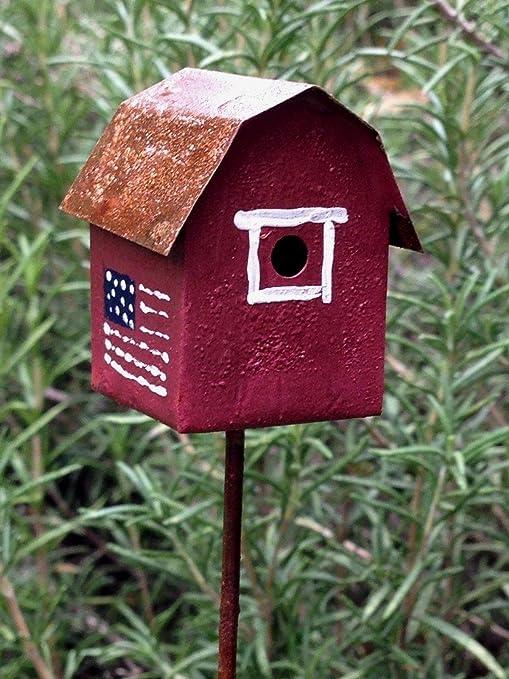 Miniature Dollhouse FAIRY GARDEN ~ Vintage Style Rustic White Birdhouse Pick NEW