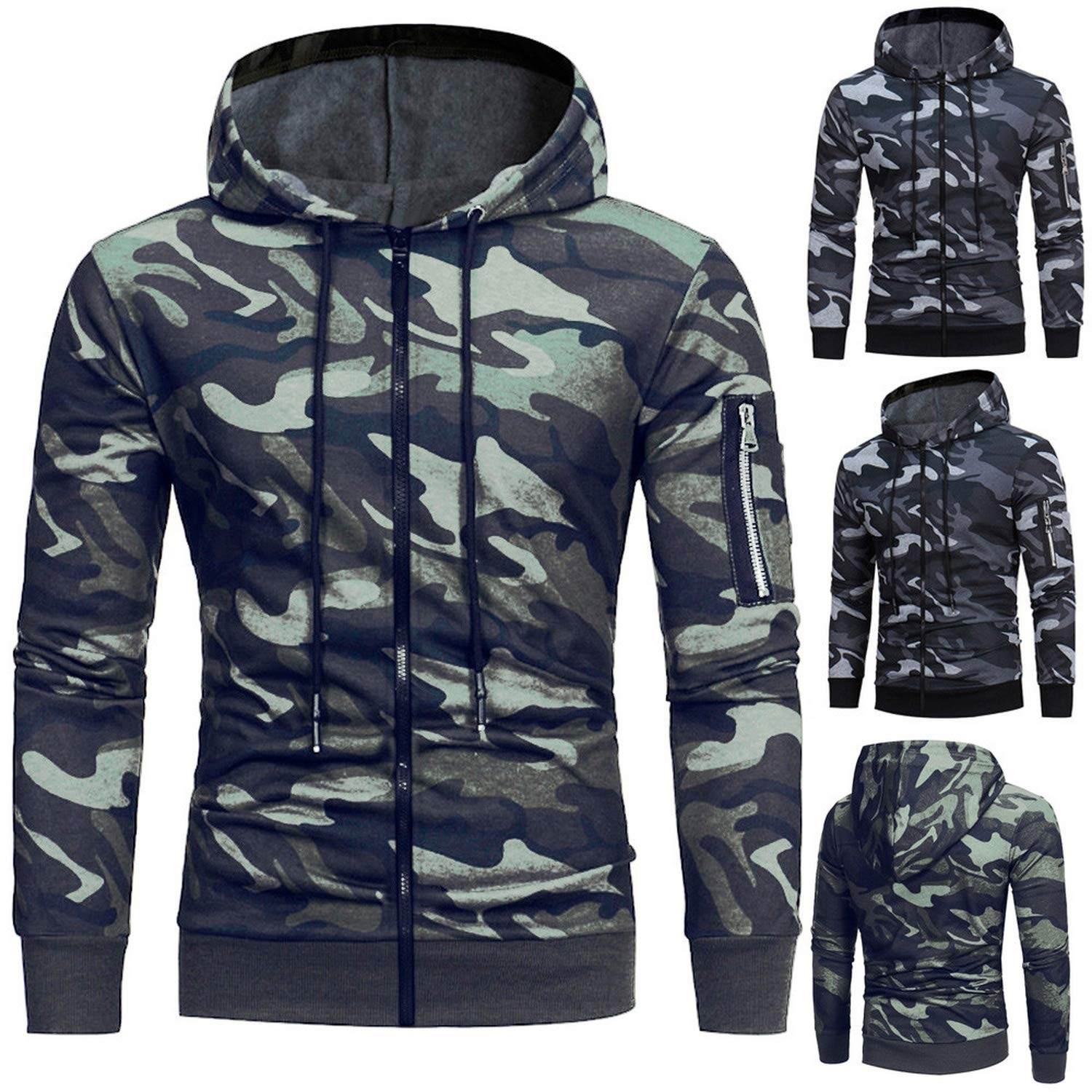 Hoodie Sweatshirt Long Sleeve Camouflage Tops Coat Outwear Fashion Hoodies,Gray,M,China