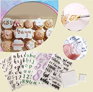 Yrcont 7 PCS Alphabet Cake Stamp Tool Set, Alphabet and Numbers Fondant Cake Mold Cookie Stamp, Food-Grade DIY Alphabet Biscuit Cookie Cutter Fondant Molds, Reusable & Easy to Clean