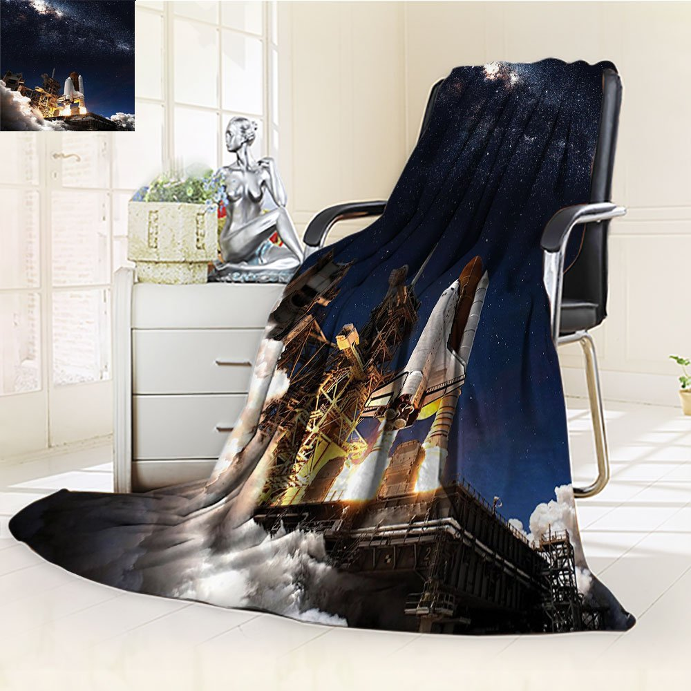 Galaxy Blanket by Nalohomeqq Space Shuttle on Take off Discovery Mission to Explore Galaxy Spaceship Solar Adventure Fabric Custom Hypoallergenic Printed Fleece Blanket Blue White