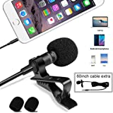 UMITOM Lavalier Lapel Microphone Wireless Lavalier Microphone 3.5 mm Omnidirectional Condenser Mic Professional Clip-on System Lapel Microphone for Recording,Youtube,Interview,Video,Conference,Podcast