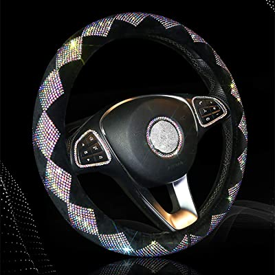 Sparkly Diamond Bling Steering Wheel Cover for Women Rhinestone, 14.5-15 inch Colorful Crystal Velvet Anti-Slip Wheel Protector Cute Girl Car Accessories Fuzzy, Black: Automotive