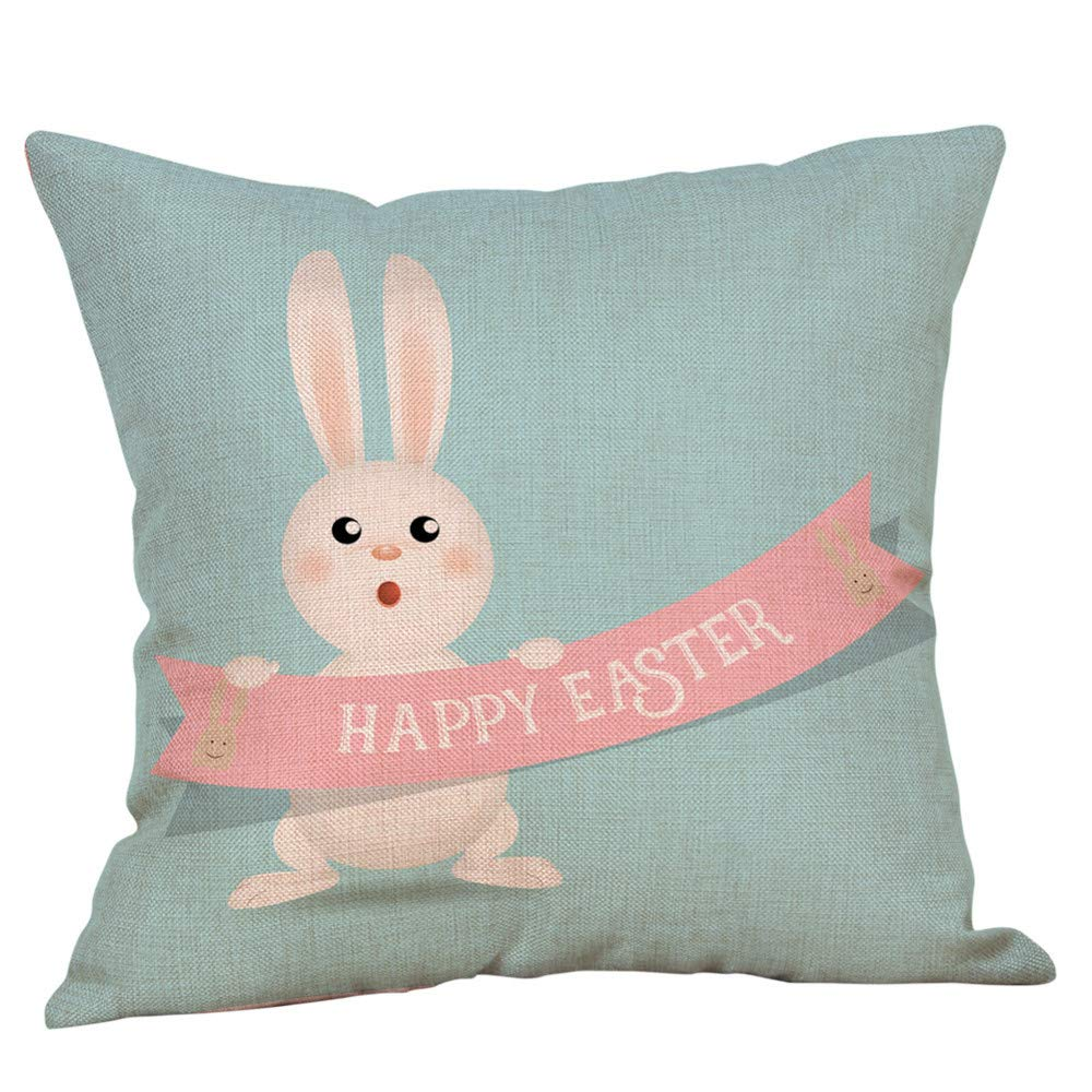Geetobby Happy Easter Throw Pillow, Easter Eggs Flowers Design Linen Decorative Square Pillow Case