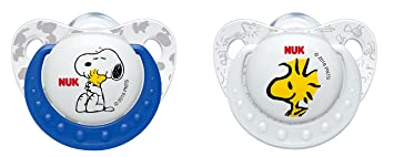 NUK 10177072 Peanuts Trend Line de silicona Chupete, tamaño 18 – 36 meses, kiefergerechte Forma, sin BPA), 2 unidades), color no a elegir.