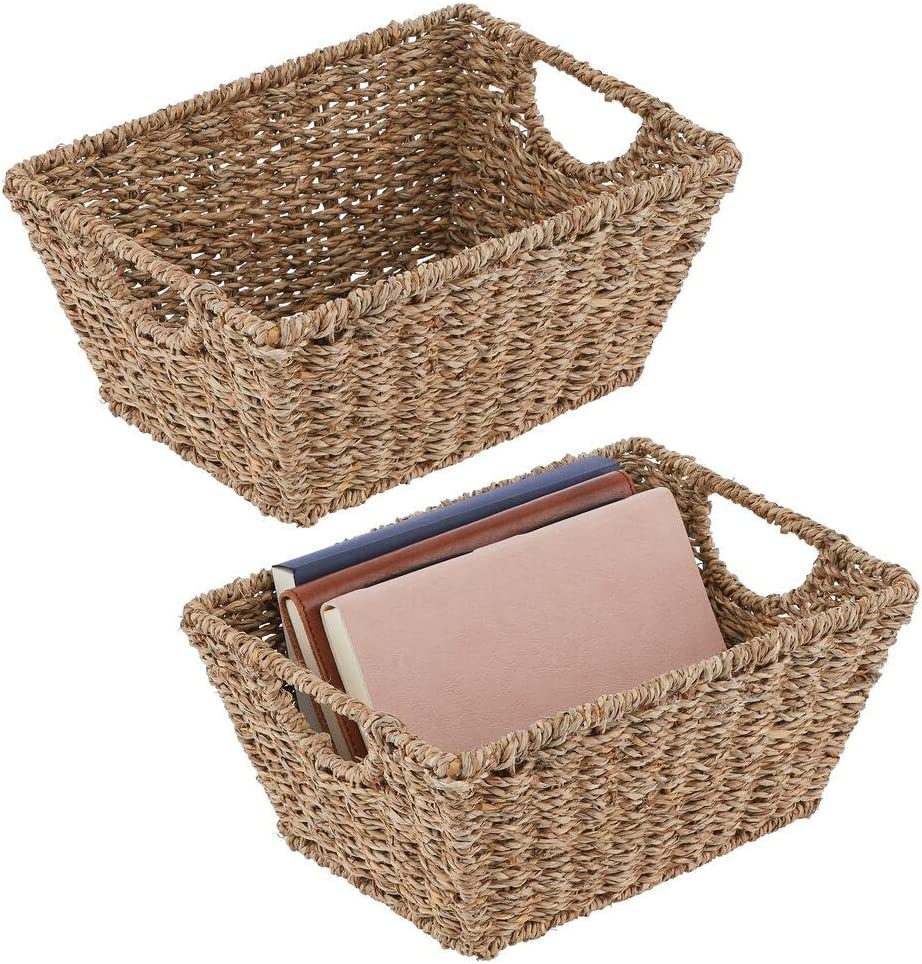 mDesign Natural Woven Seagrass Nesting Closet Storage Organizer Basket Bin for Kitchen Cabinets, Pantry, Bathroom, Laundry Room, Closets, Garage - 2 Pack - Natural/Tan