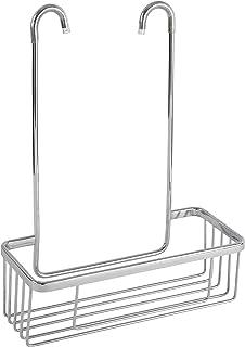 mDesign Estantería de Ducha para Colgar sobre la mampara – Práctico Colgador para Ducha sin Taladro – Cestas metálicas con ventosas y 4 Ganchos para champú, Cuchillas, etc. – Plateado: Amazon.es: Hogar