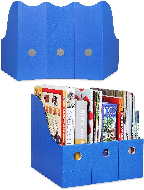 Dunwell Colored Magazine File Holder (Set of 12, Blue), Sturdy Cardboard Magazine Holders, Folder Holder, Magazine Storage Box, Book Bins, Desk File Holder Organizers and Storage